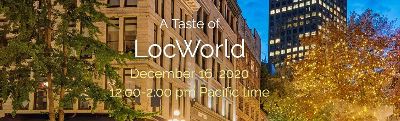 A Taste of LocWorld - December 2020